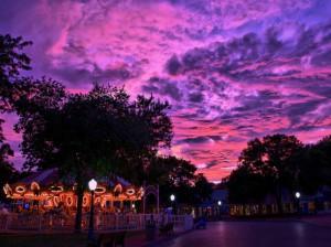 sunset at adventureland des moines iowa